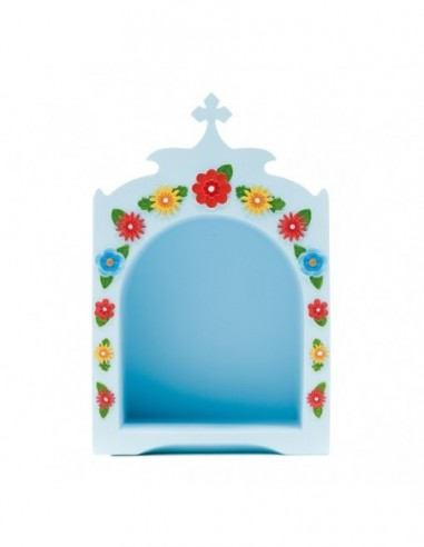 Blue Mini Shrine, with flowers